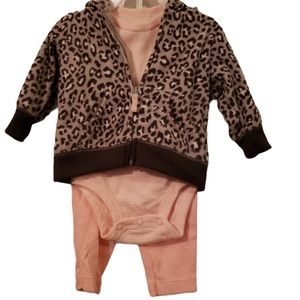 New Carters Pink Leopard infant outfit set